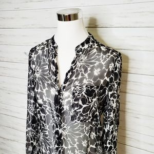 DVF Diane Von Furstenberg Silk Black White Top 4